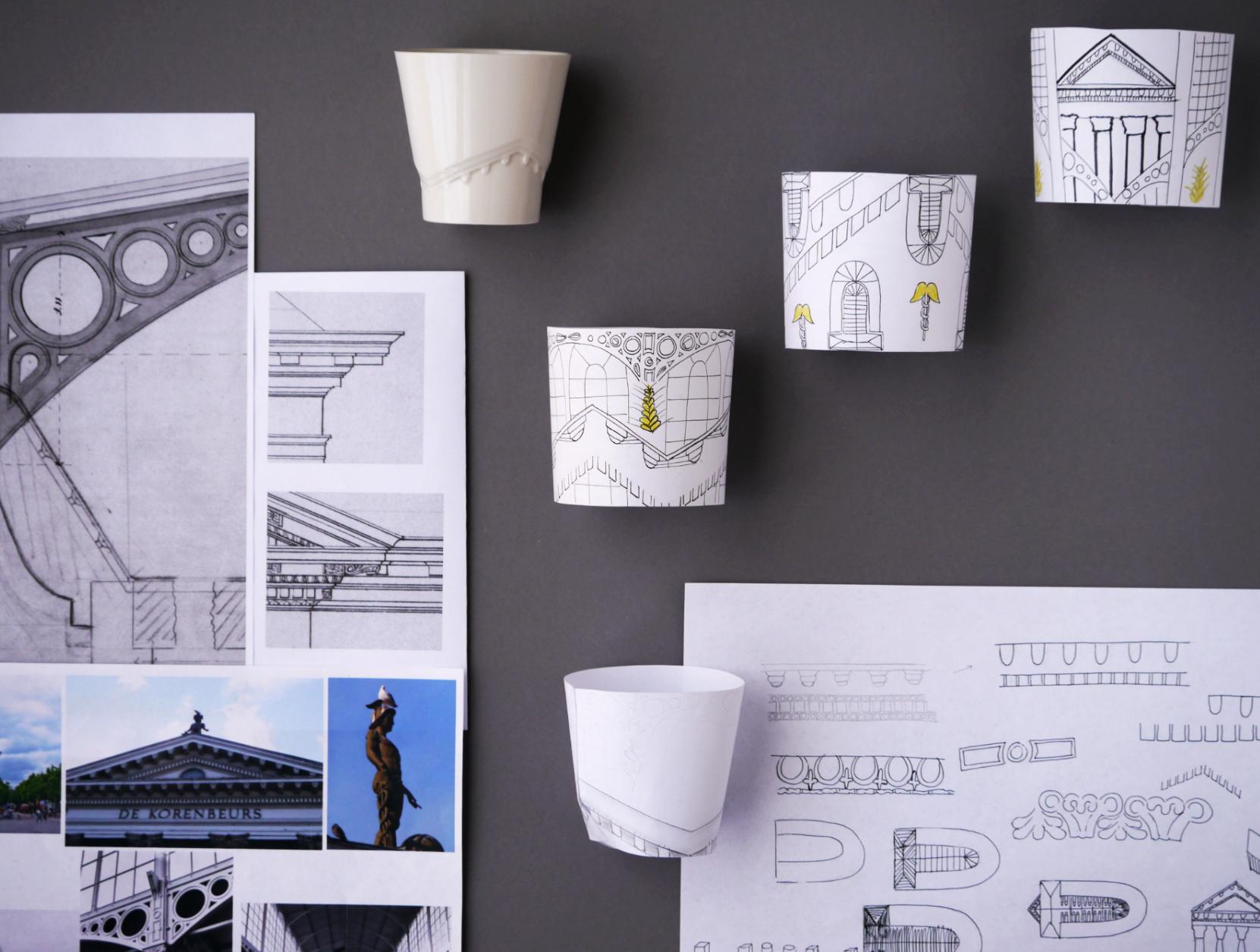 Overzicht van ontwerpschetsen kopje Korenbeurs Groningen