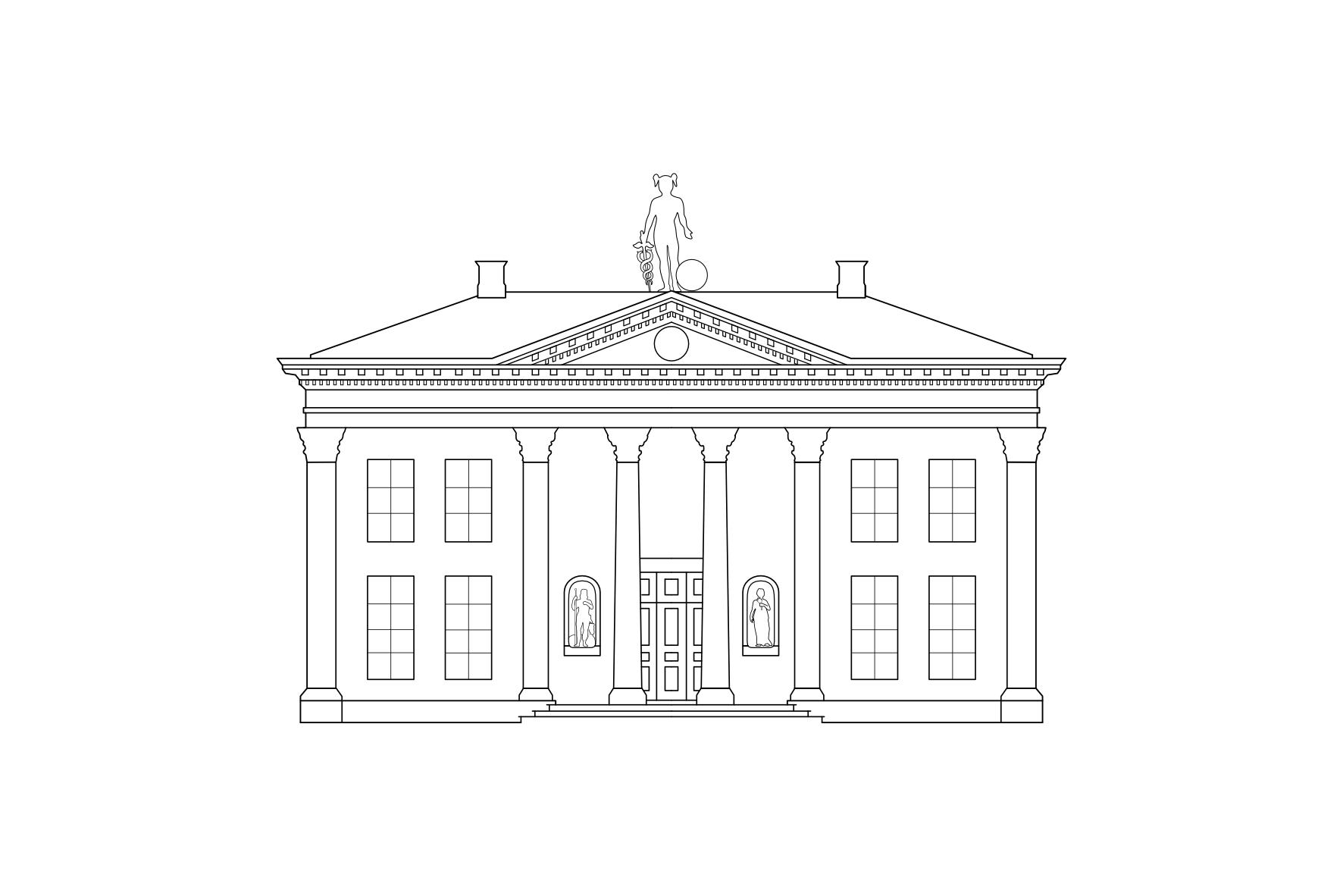 Illustratie Korenbeurs Groningen gemaakt door Jozephine Duker